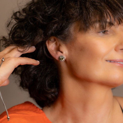 In the shade of a grey diamond. Earrings